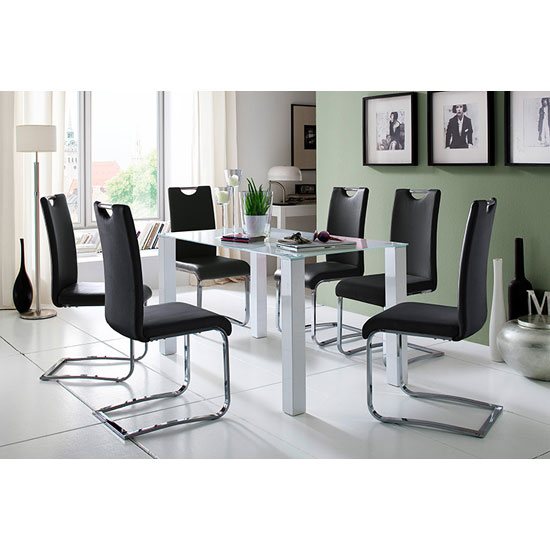 Hanna Rectangular Glass Dining Table With 6 Louis Chair In Black