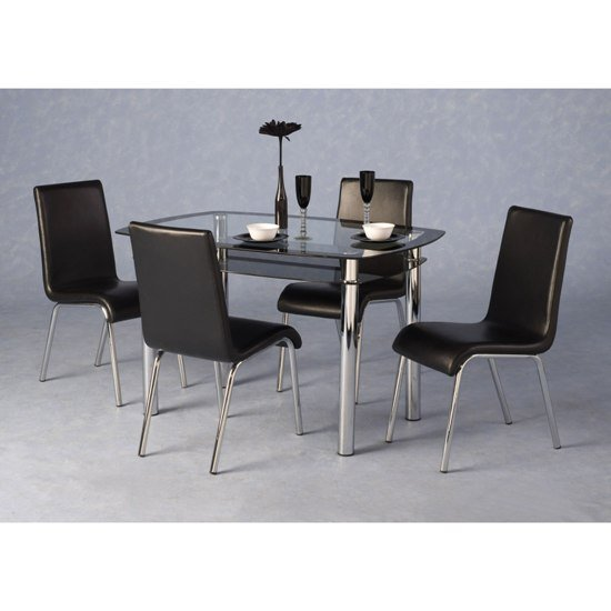 Glass dining tables and 4 chairs furnitureinfashion uk for Black dining sets with 4 chairs