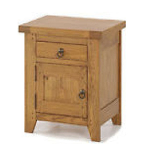 Honey Solid Oak Finish 1 Door + 1 Drawer Left Bedside Cabinet