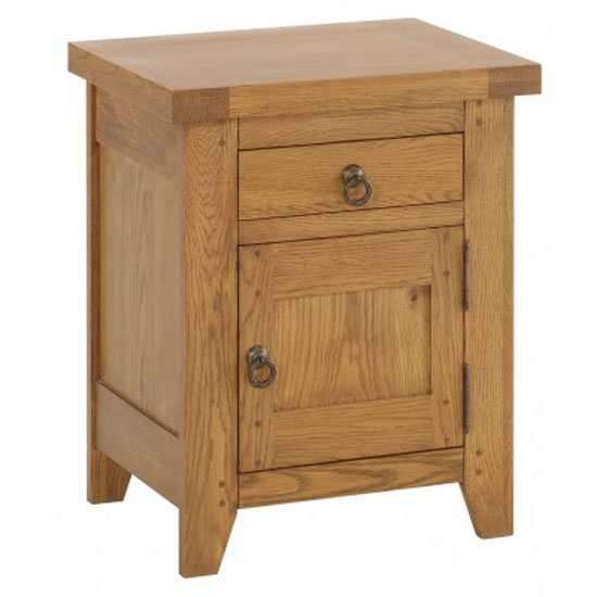 Honey Solid Oak Finish 1 Door + 1 Drawer Right Bedside Cabinet