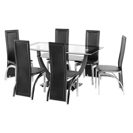 Carlson glass dining table and 6 chairs 18502 furniture in - Seat dining table sets ...