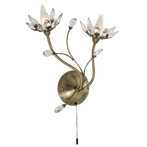 Hibiscus Antique Brass 2 Light Wall Lamp