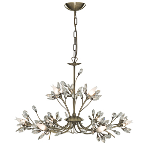 HIBISCUS ANTIQUE BRASS 9 LIGHT CEILING LIGHT, 1889-9AB