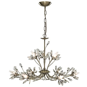 HIBISCUS ANTIQUE BRASS 9 LIGHT CEILING LIGHT 1889 9AB - How High Should A Chandelier Hang From The Dining Room Table And How To Choose A Stylish One