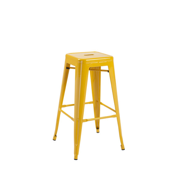 Photo of Hoxton yellow metal finish vintage look stackable bar stool