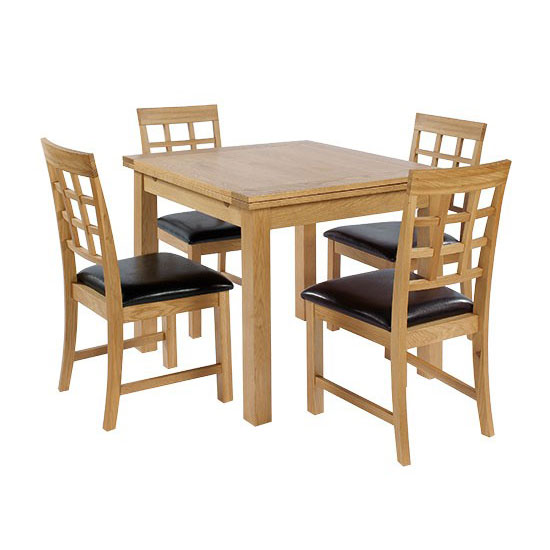 Hywel Solid Oak Extendable Dining Table And 4 Dining Chairs