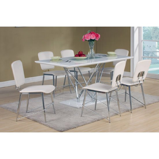 Hagley White High Gloss Top Dining Table And 6 Dining