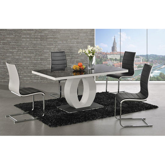Hallon Dining Table In Black Glass Top With 4 Dining Chairs