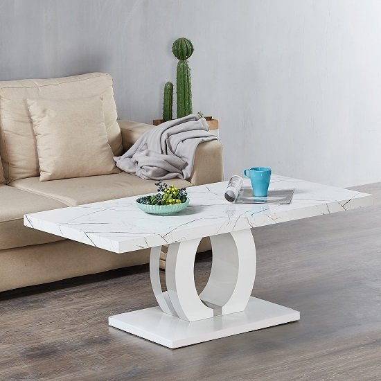 Halo Coffee Table In Shiny Vida Finish And High Gloss White