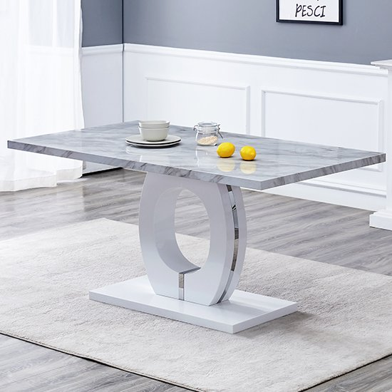 Halo Rectangular Grey Gloss Magnesia Marble Effect Dining Table Sale