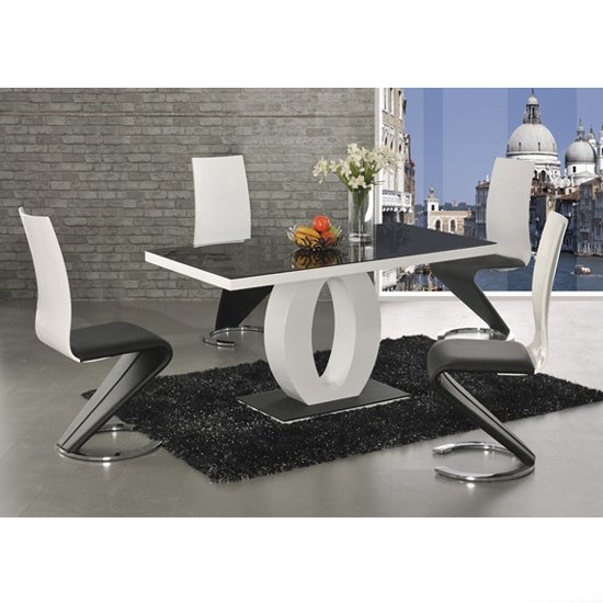 Hallon Black Glass Dining Table With A Gloss Base And 6 Chairs
