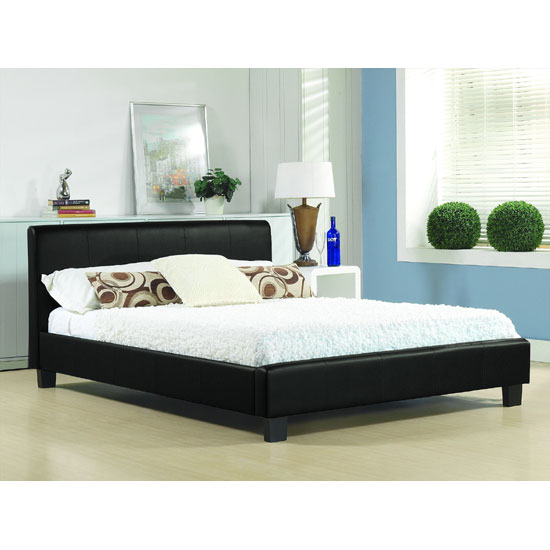 Hamburg Black Faux Leather King Size Bed