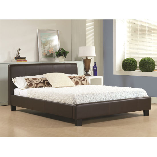 Hamburg Brown Faux Leather King Size Bed