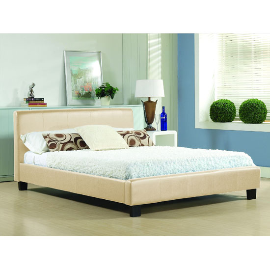 Hamburg Cream Faux Leather King Size Bed