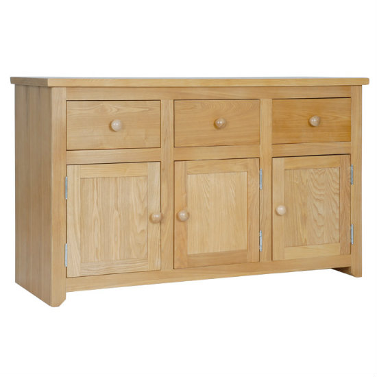 Hamilton Wide Sideboard In Oak With 3 Doors And 3 Drawers