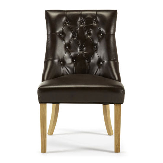 Milena Dining Chair In Brown Bonded Leather Oak Legs in A Pair_2