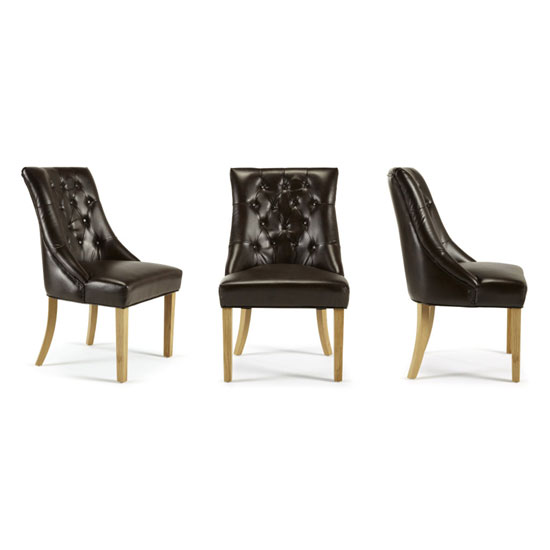 Milena Dining Chair In Brown Bonded Leather Oak Legs in A Pair_4