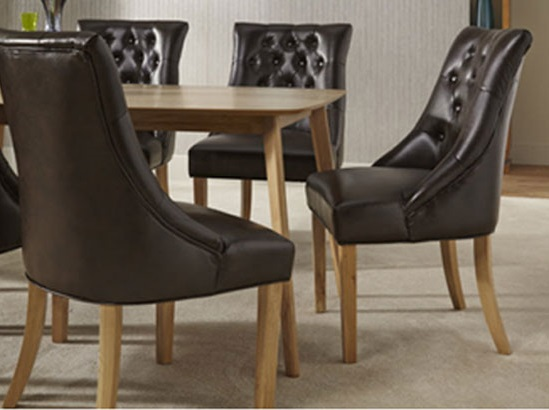 Milena Dining Chair In Brown Bonded Leather Oak Legs in A Pair_9