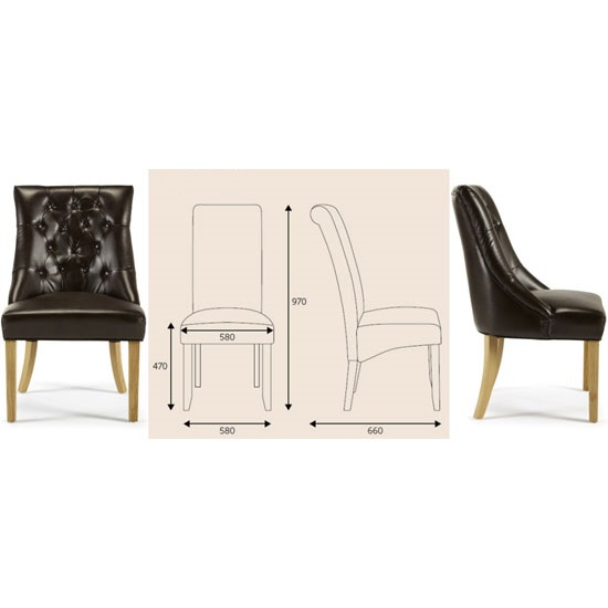 Milena Dining Chair In Brown Bonded Leather Oak Legs in A Pair_5