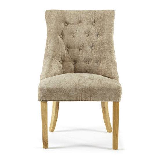 Milena Dining Chair In Mink Fabric With Oak Legs in A Pair_2