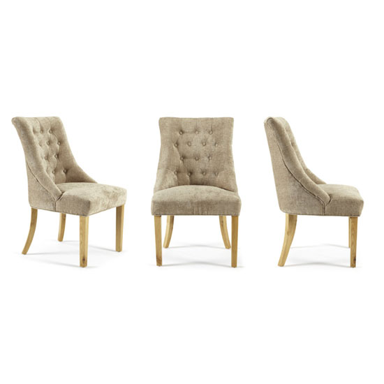 Milena Dining Chair In Mink Fabric With Oak Legs in A Pair_4