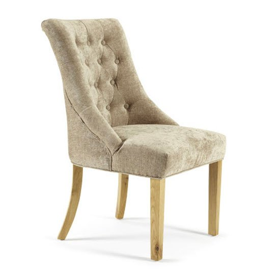 Milena Dining Chair In Mink Fabric With Oak Legs in A Pair_1