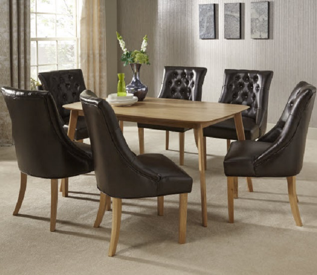 Milena Dining Chair In Brown Bonded Leather Oak Legs in A Pair_8