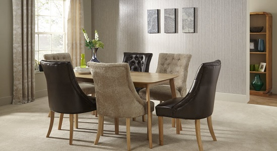 Milena Dining Chair In Mink Fabric With Oak Legs in A Pair_10