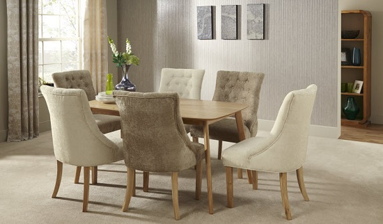 Milena Dining Chair In Mink Fabric With Oak Legs in A Pair_9