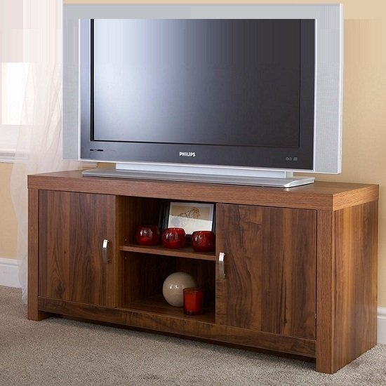 Halstead TV Stand In Warm Acacia Wood Effect With 2 Doors