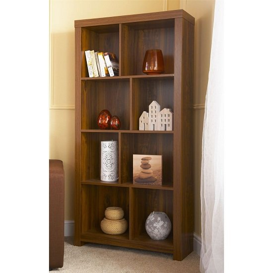 View Halstead tall shelving unit and bookcase in warm acacia wood