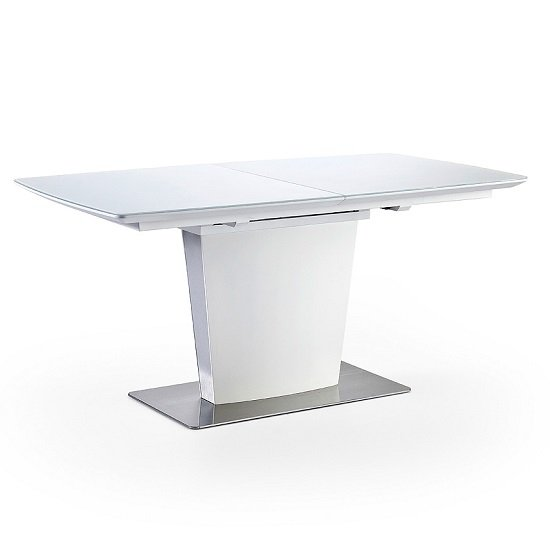 Perry Extendable Dining Table In Matt White With Glass Top