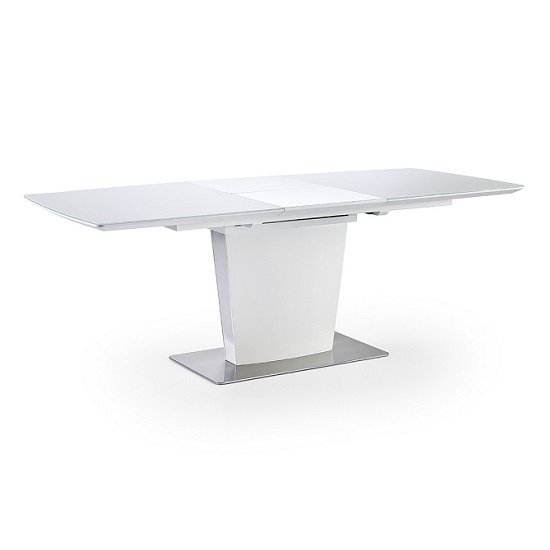 Perry Extendable Dining Table In Matt White With Glass Top_2