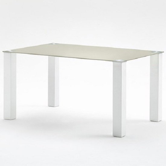 Hanna 140cm Glass Dining Table In Taupe With Gloss White Feet