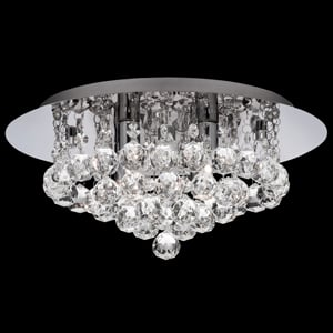 Hanna Chrome Flush Crystal Ball 4 Light Ceiling Light