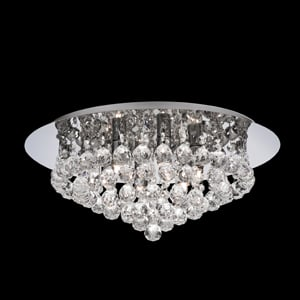 Hanna Chrome Flush Crystal Ball 6 Light Ceiling Light