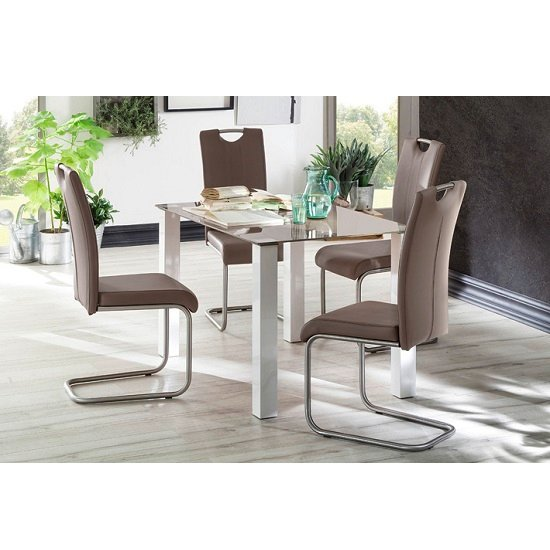 Hanna Glass Dining Table In Taupe With 4 Marie Dining Chairs