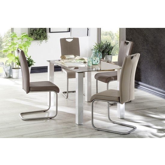 Hanna Glass Dining Table In Taupe With 4 Marie Dining