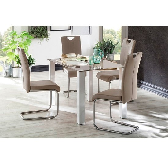 Hanna Glass Dining Table In Taupe With 4 Marie Dining Chairs_3