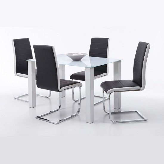 Hanna Dining Table In Frosted Glass With 4 Top Dining Chairs