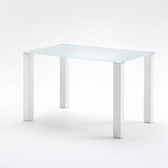 hanna 120cm rectangular frosted glass top dining table only