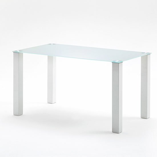 hanna 140cm rectangular frosted glass top dining table only