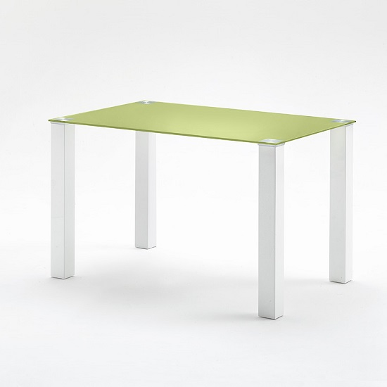 Hanna Small Dining Table Rectangular In Green Glass