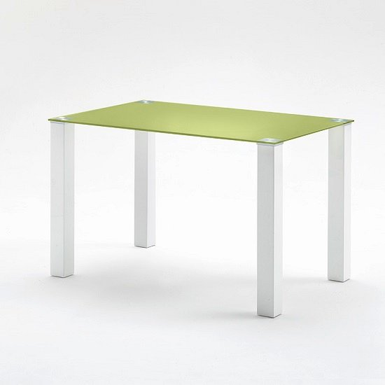 Hanna small dining table rectangular in green glass 26859 for Small rectangle glass dining table