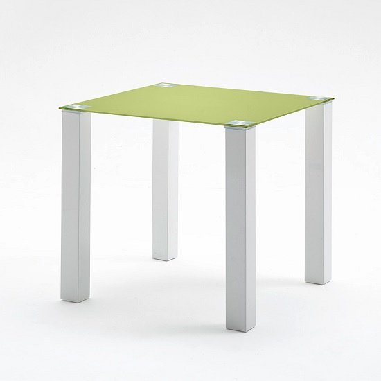 hanna square glass dining table in green and white gloss