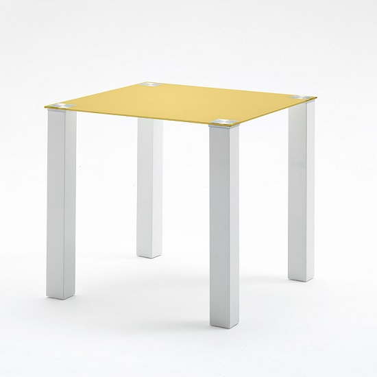 Hanna Dining Table Square In Curry Glass With White Gloss Legs