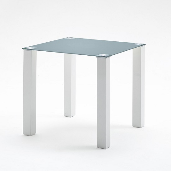 Hanna Glass Dining Table Square In Petrol And White Gloss Feet