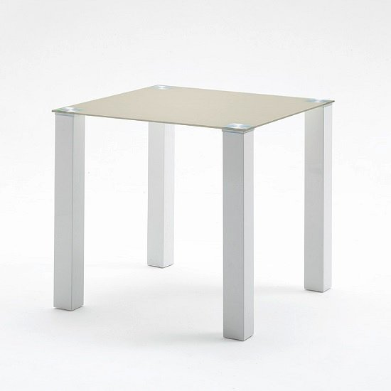 Hanna Square Dining Table In Taupe Glass With White Gloss Base