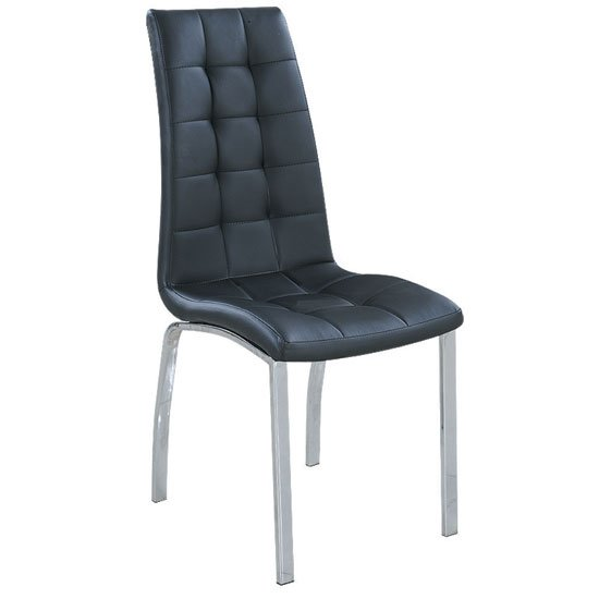 Happy black faux leather dining chair with metal legs for Leather dining chairs with metal legs