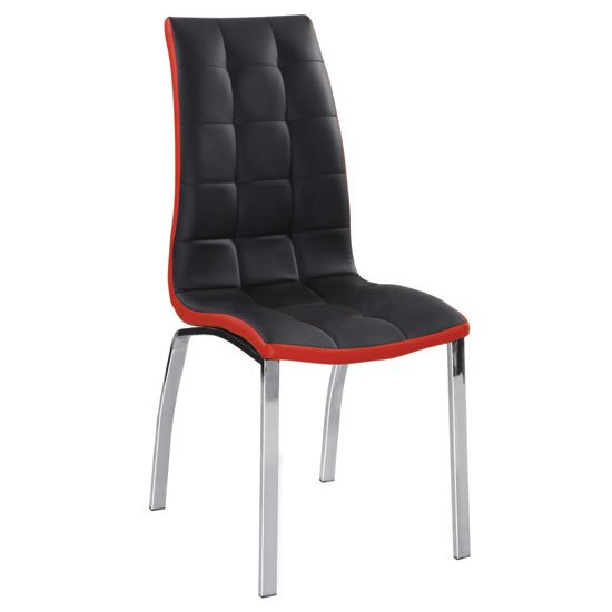 Happy black and red faux leather dining chair with metal legs for Leather dining chairs with metal legs
